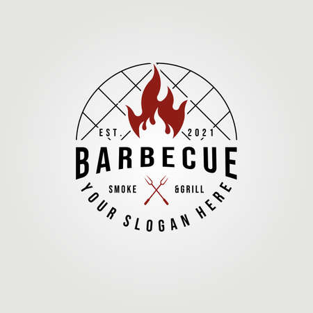 Barbecue smoke & grill logo vector illustration design