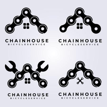 set bundle chain logo vector illustration design