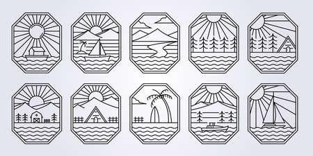 Outdoor line art ocean adventure logo vector icon illustration symbol design surfing vacation creek lake river forest mountain