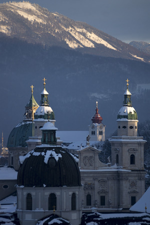 wintersport: salzburg church towers covered with snow Stock Photo