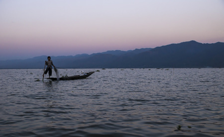 inle: Inle lake fisher at sunset