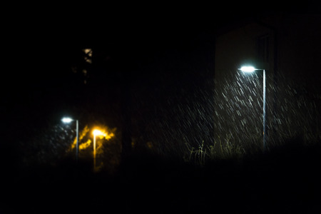 laterns: First snow in the night lighted by the laterns