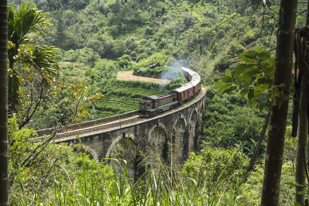 forest railroad: Stream train on a stone bridge in the jungle, Ella, Sri Lanka