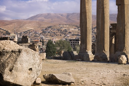 heliopolis: Ruins of Jupiter temple with columns and mountain range in Baalbek, Bekaa valley Lebanon
