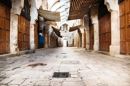 tradional: Empty traditional Souks street at friday afternoon with roof in Tripoli, Lebanon