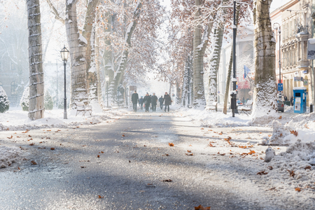 Zagreb, Croatia: January 7 2016: Footpath with decorated trees with orange leaves and walkers in Zrinjevac Park in Zagreb in winter with snow and sunny weather