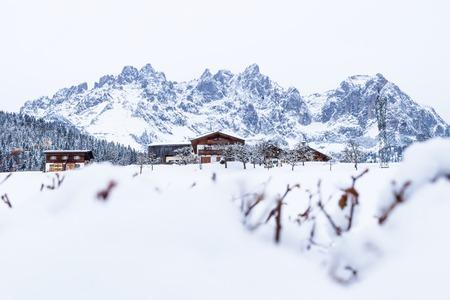 Wilder Kaiser mountainrange with snowheap during winter, Going am Wilden Kaiser, Tyrol, Austria Stock Photo