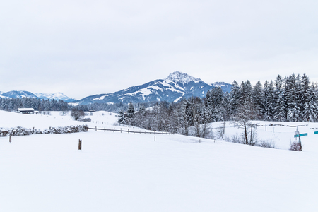 Kitzbuehler Horn mountain during winter with fresh snow, Going am Wilden Kaiser, Tyrol, Austria