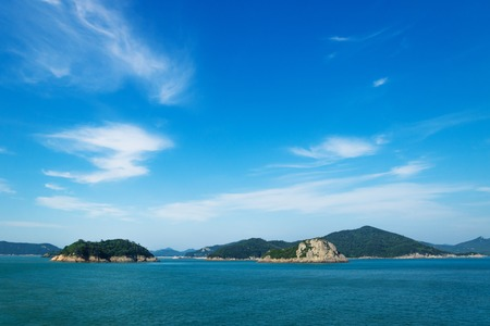 Jindo island seen from the ferry from Jeju to Mokpo at a sunny day, South Korea