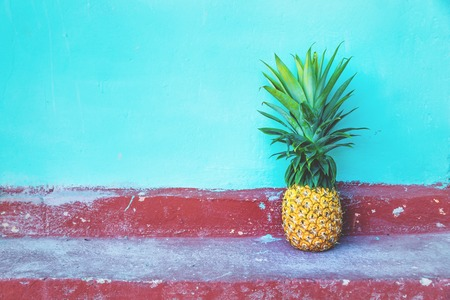 Large Pineapple on turquoise wall and red floor, traditional Mexican colours, Bacalar, Mexico