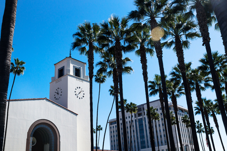 Union Station surrounded by palm trees and blue sky, Los Angeles, California