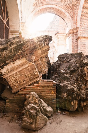 Pillar ruins of Templo de San Jose cathedral with backlight, Antigua, Guatemala, Central America Stock Photo