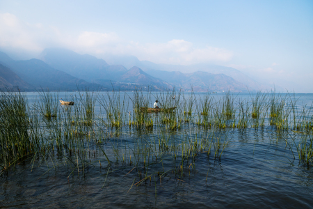 Canoe with fisherman behind reed with misty volcanic mountains at Lago Atitlan, San Juan la Laguna, Guatemala, Central America