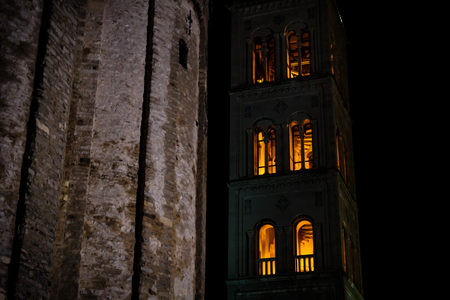 Detail of red lightned bell tower of Zadar at night, Croatia, Europe Stock Photo