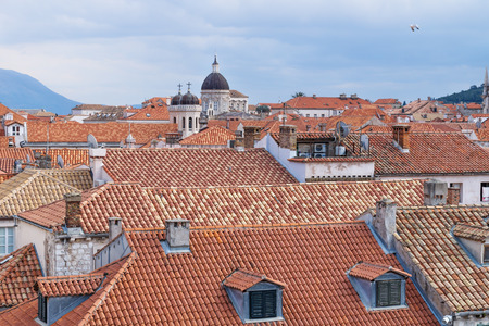 View over the old city Dubrovnik and cathedral in middle with mountains , Croatia