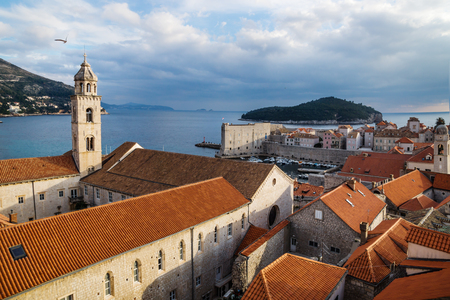 Tower of the Dominican Monastery with view to the harbout in Dubrovnik with ocean view, Croatia