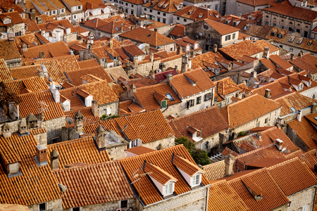 Detail of the orange roofs of Dubrovnik shined by sunslight, Croatia