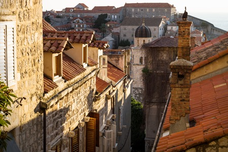 View over the orange roofs of Dubrovnik with the last winter sun, Croatia