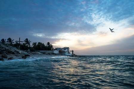 Sunset with pelicans along the coast with beach and houses of Chelem, Mexico