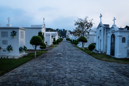 Tombs at the San Lazaro Cemetery in dusk, Antigua, Guatemala