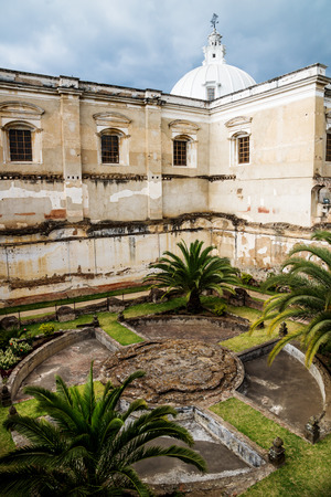 Church of San Fransisco el Grande with backyard garden and sunshine, Antigua, Guatemala