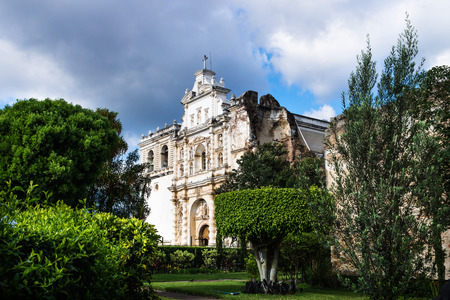 Church of San Fransisco el Grande in styled garden with sunshine, Antigua, Guatemala