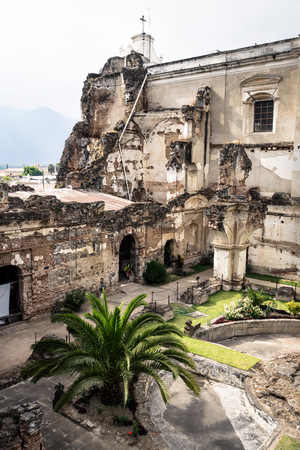 Church of San Fransisco el Grande with backyard and sunshine, Antigua, Guatemala