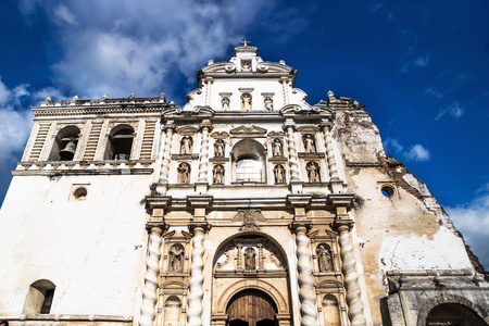 Church of San Fransisco el Grande on blue sky with sunshine, Antigua, Guatemala