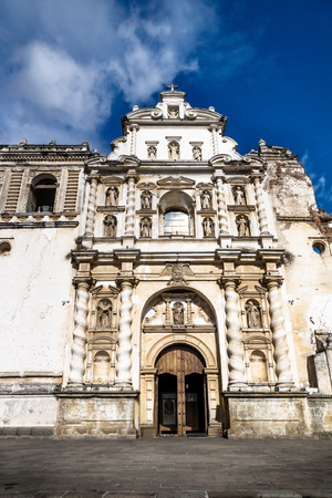 Church of San Fransisco el Grande on blue sky vertical with sunshine, Antigua, Guatemala