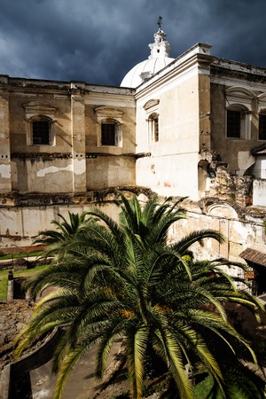 Church of San Fransisco el Grande with huge palm tree in backyard and sunshine, Antigua, Guatemala