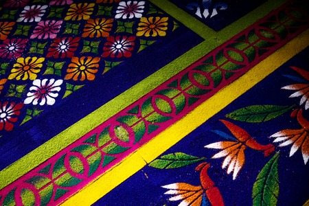 Flower Alfobre, colorful sawdust carpet made for Semana Santa Easter in El Calvario, Antigua, Guatemala Stock Photo