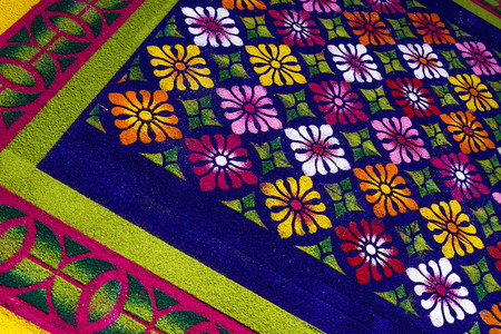 Alfobre, colorful sawdust carpet made for Semana Santa Easter in El Calvario, Antigua, Guatemala