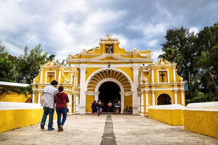 Antigua, Guatamala - 23 March 2018: El Calvario entrance to the church Redactioneel