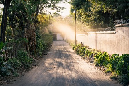 Dirtroad to a coffee plantation finca lined by trees and wall land with sunbeam, Antigua, Guatemala Stock Photo