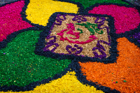 Sawdust alfombra with flower design for Semana Santa, Antigua, Guatemala Stock Photo