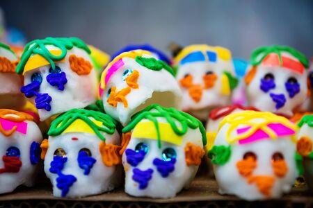 Mexican sugar skull candy, calaveras, traditionally used for dias de los muertos, halloween at the market of Merida, Mexico