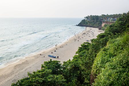 Bird Eyes view from Varkalas sand beach with along the green cliff, India