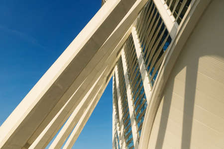 Valencia, Spain - 17 February 2020: Sunlit detail of the Science Museum 'Princep Felip' entrance in the City of Arts and Sciences designed by architects Santiago Calatrava and Felix Candela