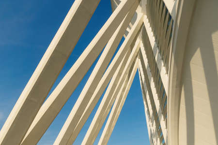 Valencia, Spain - 17 February 2020: Detail of the entrance of the Science Museum 'Princep Felip' in the City of Arts and Sciences designed by architects Santiago Calatrava and Felix Candela 에디토리얼