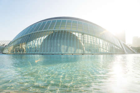 Valencia, Spain - 17 February 2020: Hemispheric at water with backlight in the City of Arts and Sciences designed by architects Santiago Calatrava and Felix Candela 에디토리얼