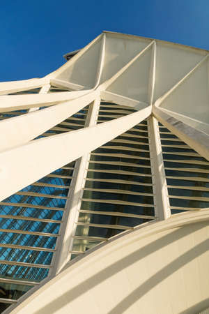 Valencia, Spain - 17 February 2020: Detail of the facade of Science Museum 'Princep Felip' in the City of Arts and Sciences designed by architects Santiago Calatrava and Felix Candela 에디토리얼