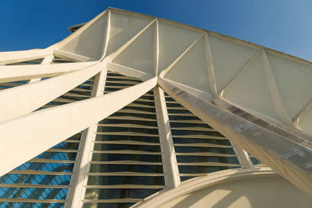 Valencia, Spain - 17 February 2020: Detail the window facade of the Science Museum 'Princep Felip' in the City of Arts and Sciences designed by architects Santiago Calatrava and Felix Candela