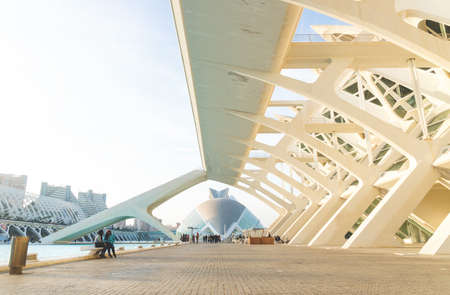 Valencia, Spain - 17 February 2020: Walkway along City of Arts and Sciences designed by architects Santiago Calatrava and Felix Candela