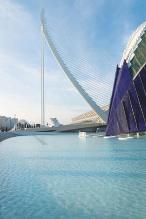 Valencia, Spain - 17 February 2020: Agora building at the City of Arts and Sciences designed by architects Santiago Calatrava and Felix Candela