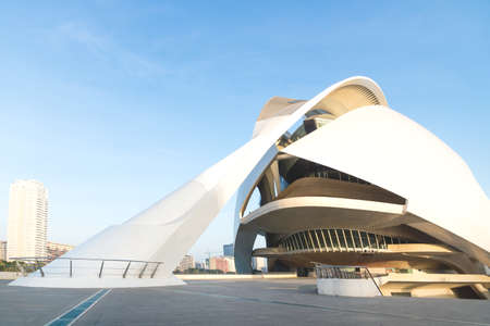 Valencia, Spain - 17 February 2020: Front entrance of Palau des Arts Reina Sofia in the City of Arts and Sciences designed by architects Santiago Calatrava and Felix Candela 에디토리얼