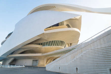 Valencia, Spain - 17 February 2020: Modern architecture of Palau des Arts Reina Sofia in the City of Arts and Sciences designed by architects Santiago Calatrava and Felix Candela