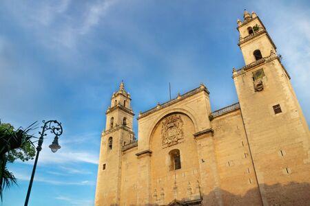 Facade of the cathedral of Merida 'San Ildefonso' during last sun, Merida, Yucatan, Mexico