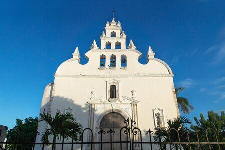 Apostle Church 'Parroquia de Santiago Apostol' on a blue cloudless sky, Merida, Yucatan, Mexico Stock Photo
