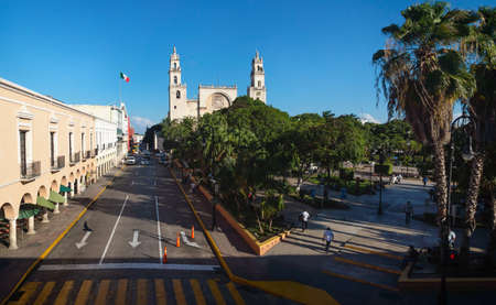 View to the cathedral of Merida over the main square park 'Plaza Grande' from the Olimpo Cultural Center in Merida, Yucatan, Mexico