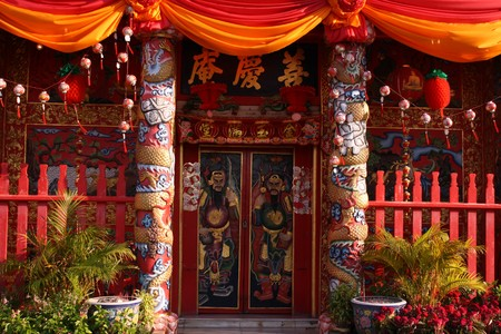 Chinese shrines in the temple Phananchoeng in Ayutthaya province, Thailand. Stock Photo - 6976002